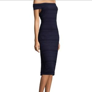 NWT Ted Baker navy blue Inan bardot bodycon dress